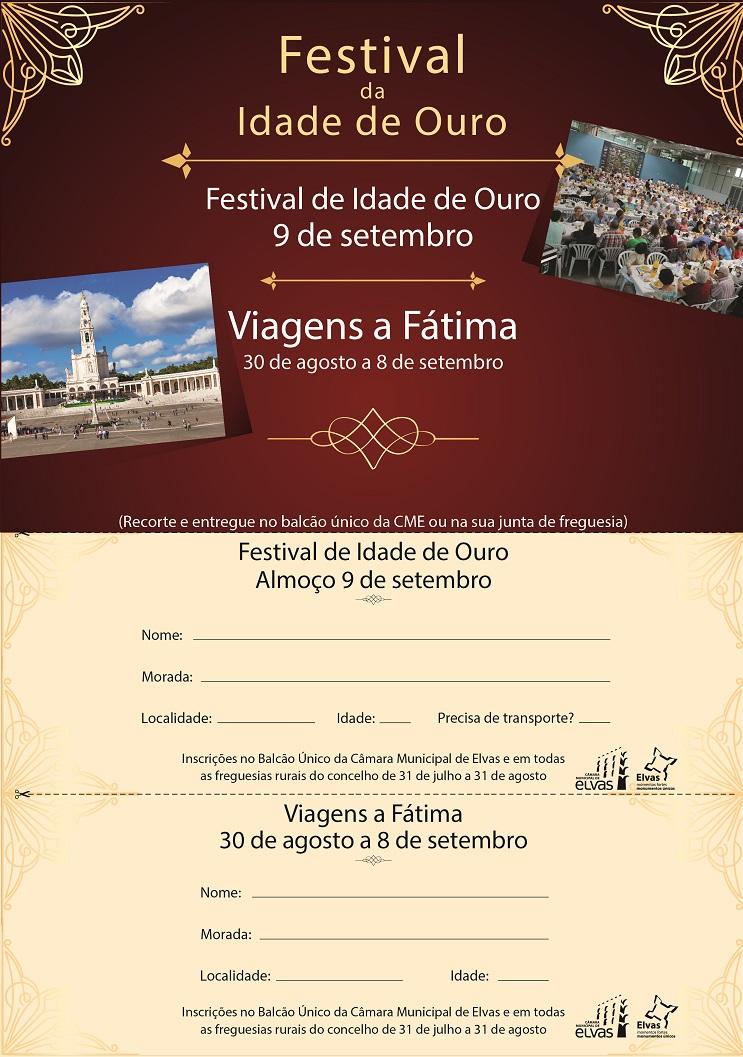 Festival da Idade de Ouro e viagens a Fátima com inscrições abertas